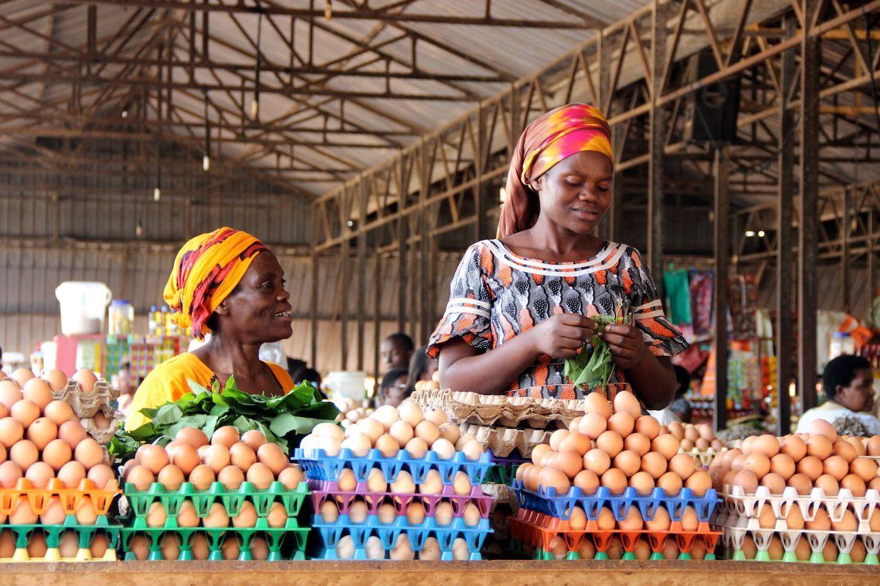 Women selling eggs at a market in Rwanda