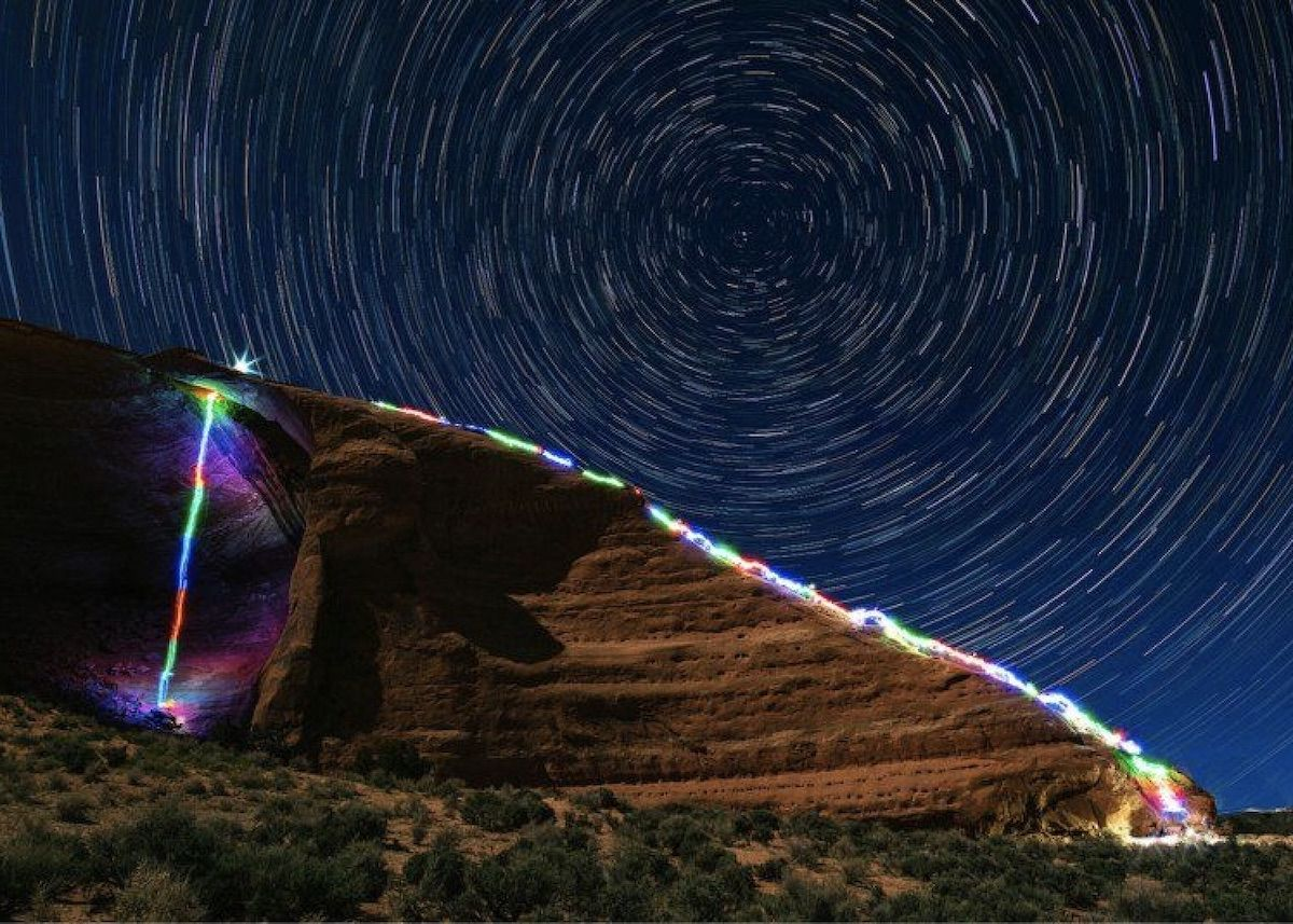 Photographer takes long-exposure climbing shots with neon colors and the result is mesmerizing