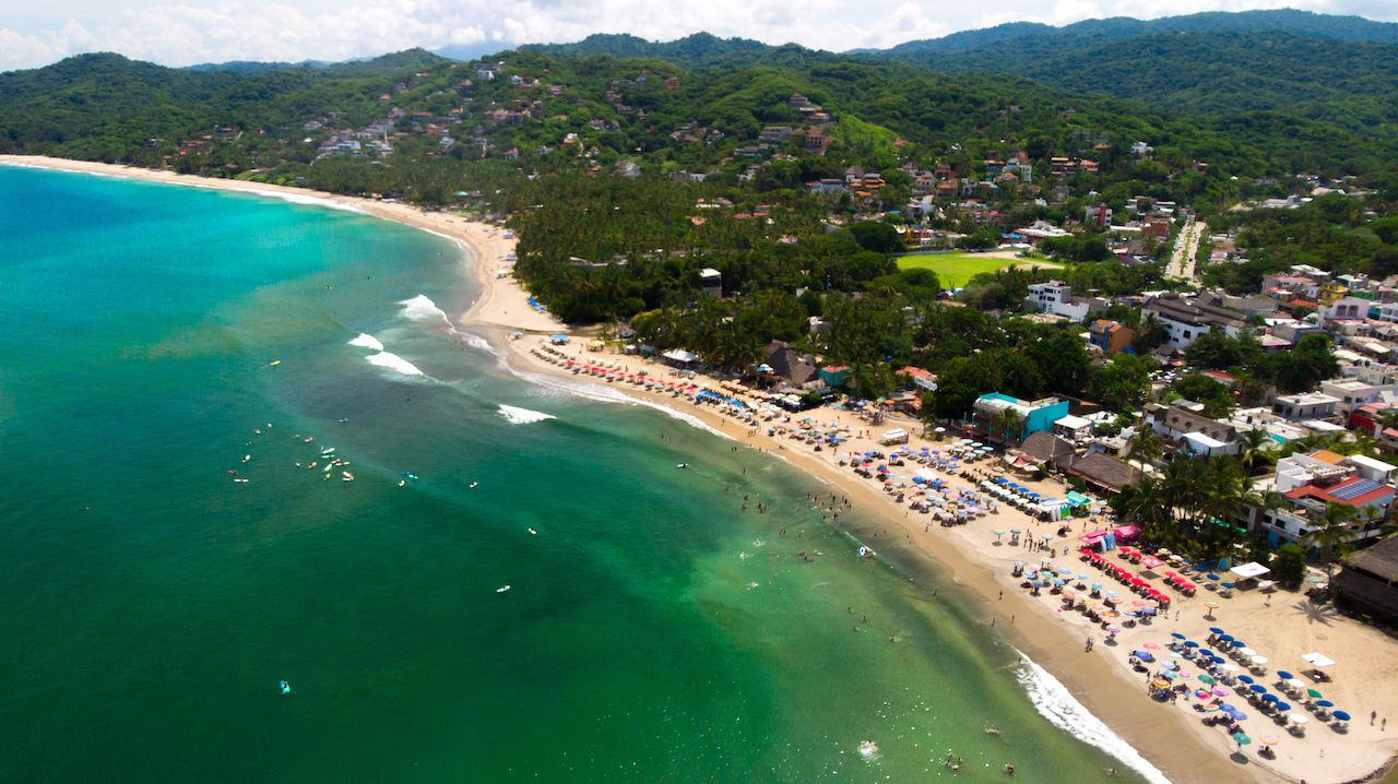Aerial drone view of Sayulita Beach in Nayarit, Mexico