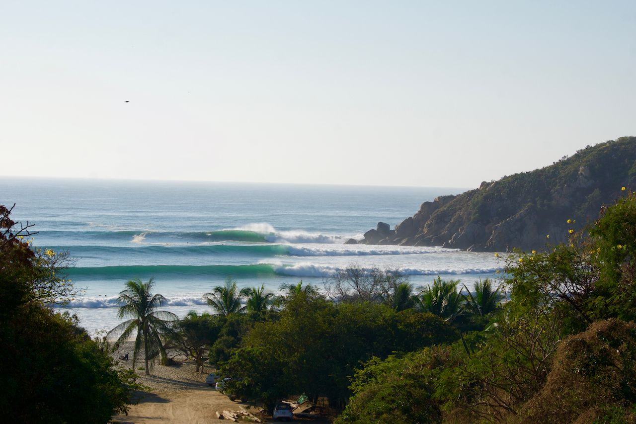 Barra de la cruz, Oaxaca on a day when the swell was double over head