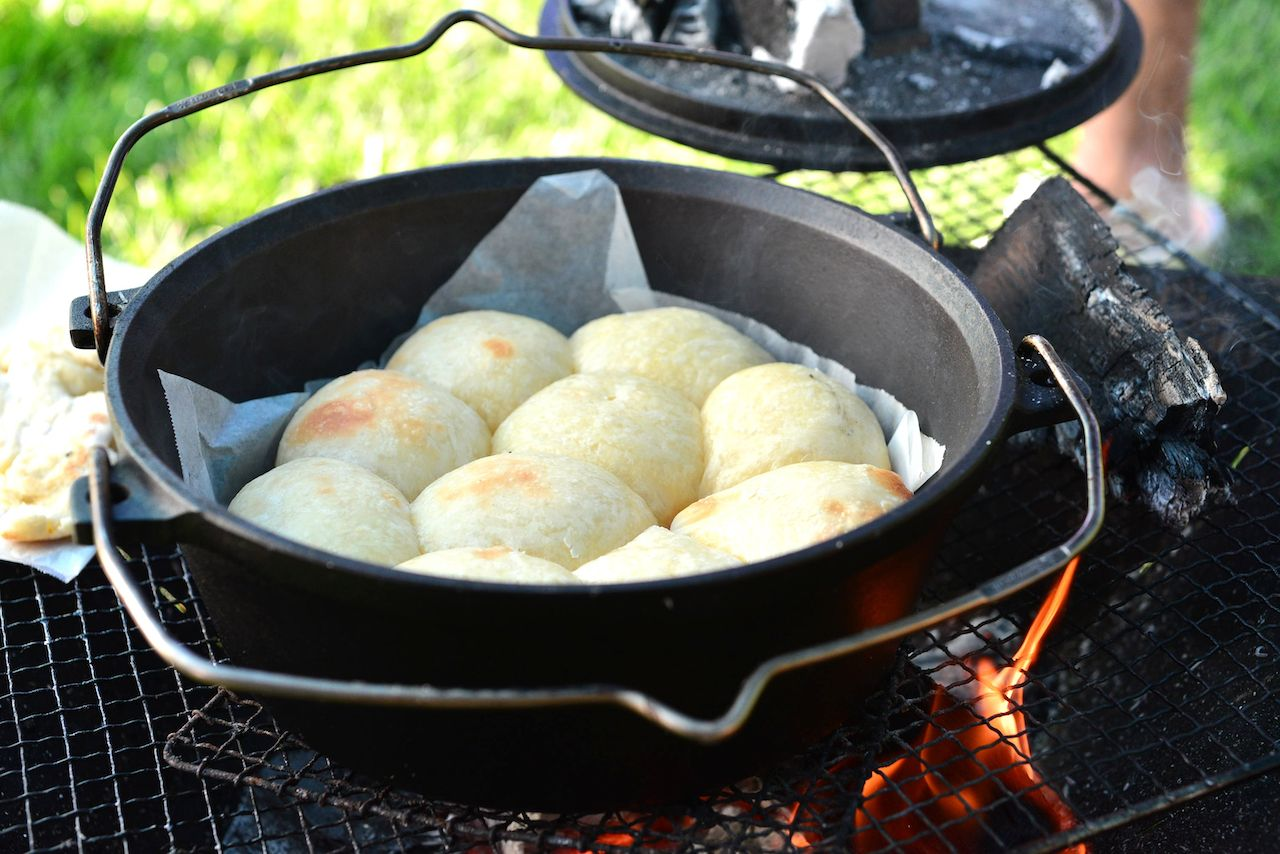 Bread baking in a dutch oven