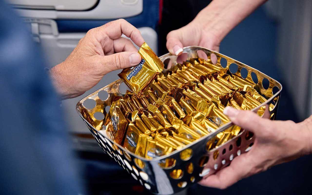 Detla Airline farewell chocolates in economy class