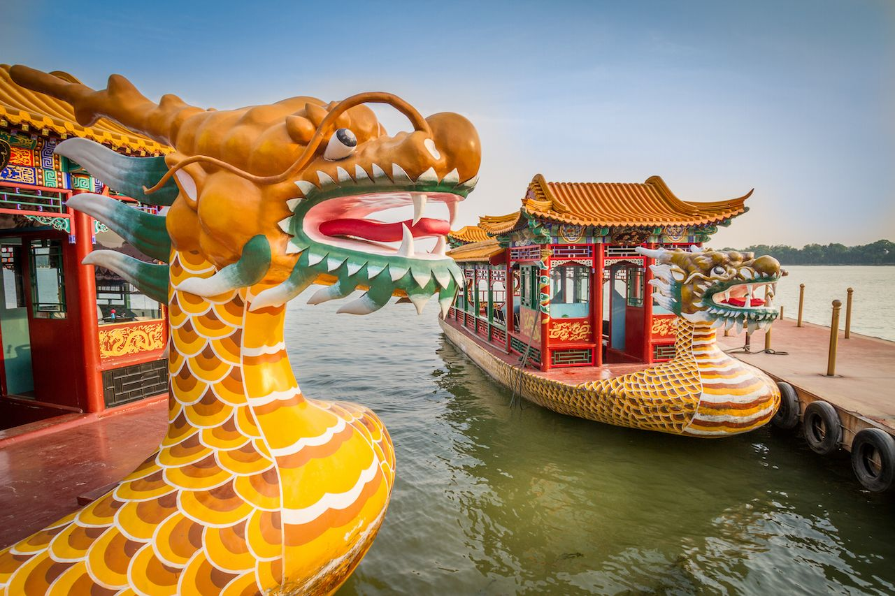 Dragon boat on the Kunming Lake, Beijing, China