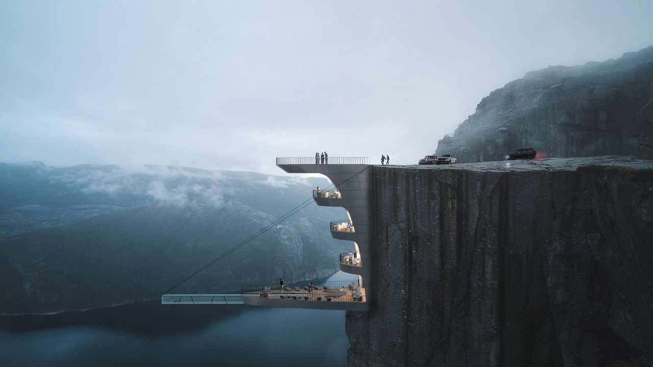 Hotel on Norwegian cliff