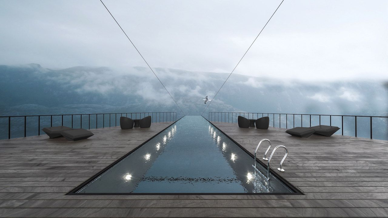 Hotel's swimming pool on Norwegian cliff
