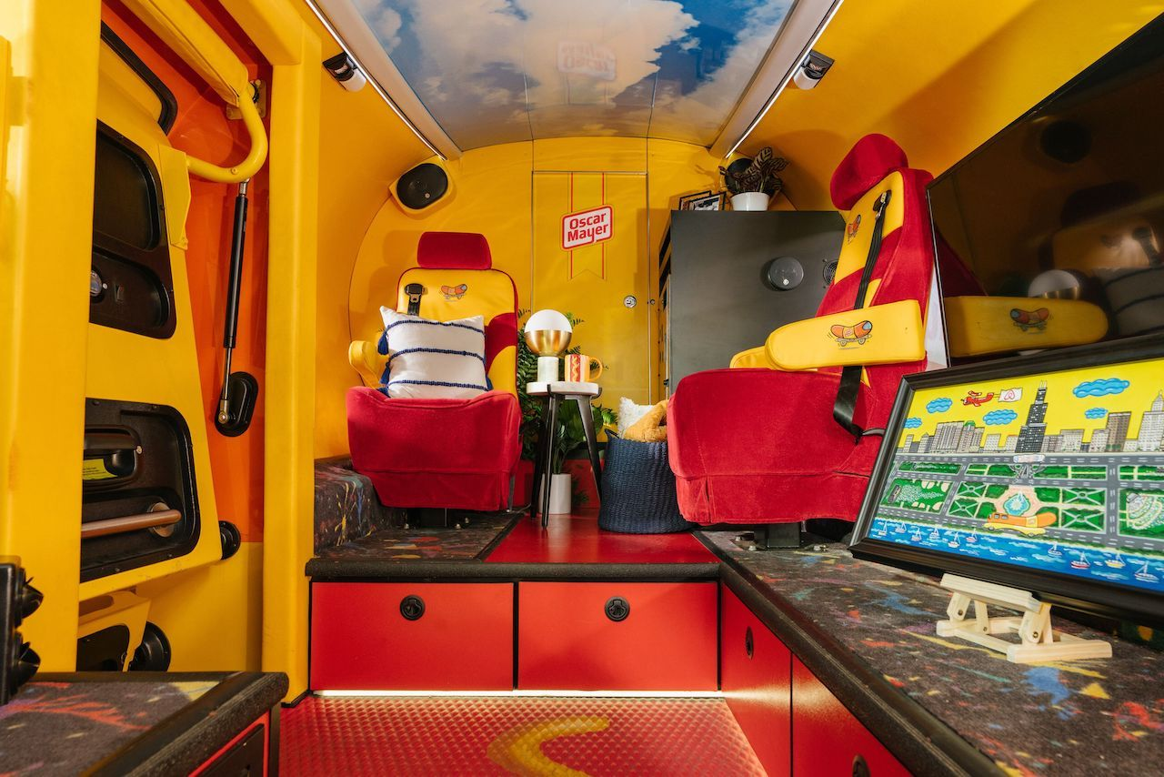 Inside of Oscar Meyer Weinermobile on Airbnb