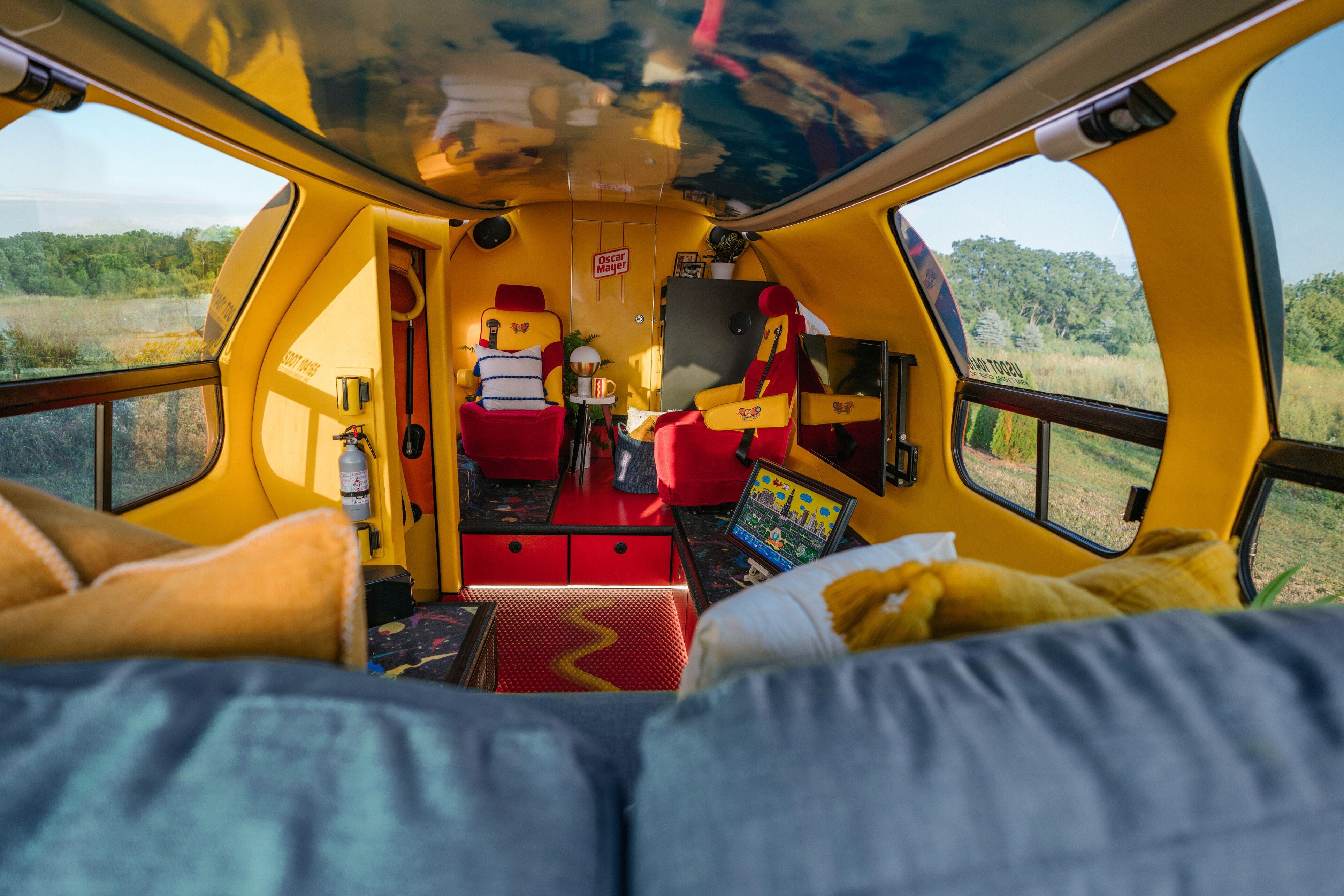 Inside of Oscar Meyer Weinermobile on Airbnb
