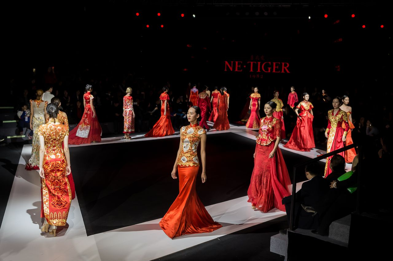 Model walk runway for NE-TIGER show at Harbin Fashion Week