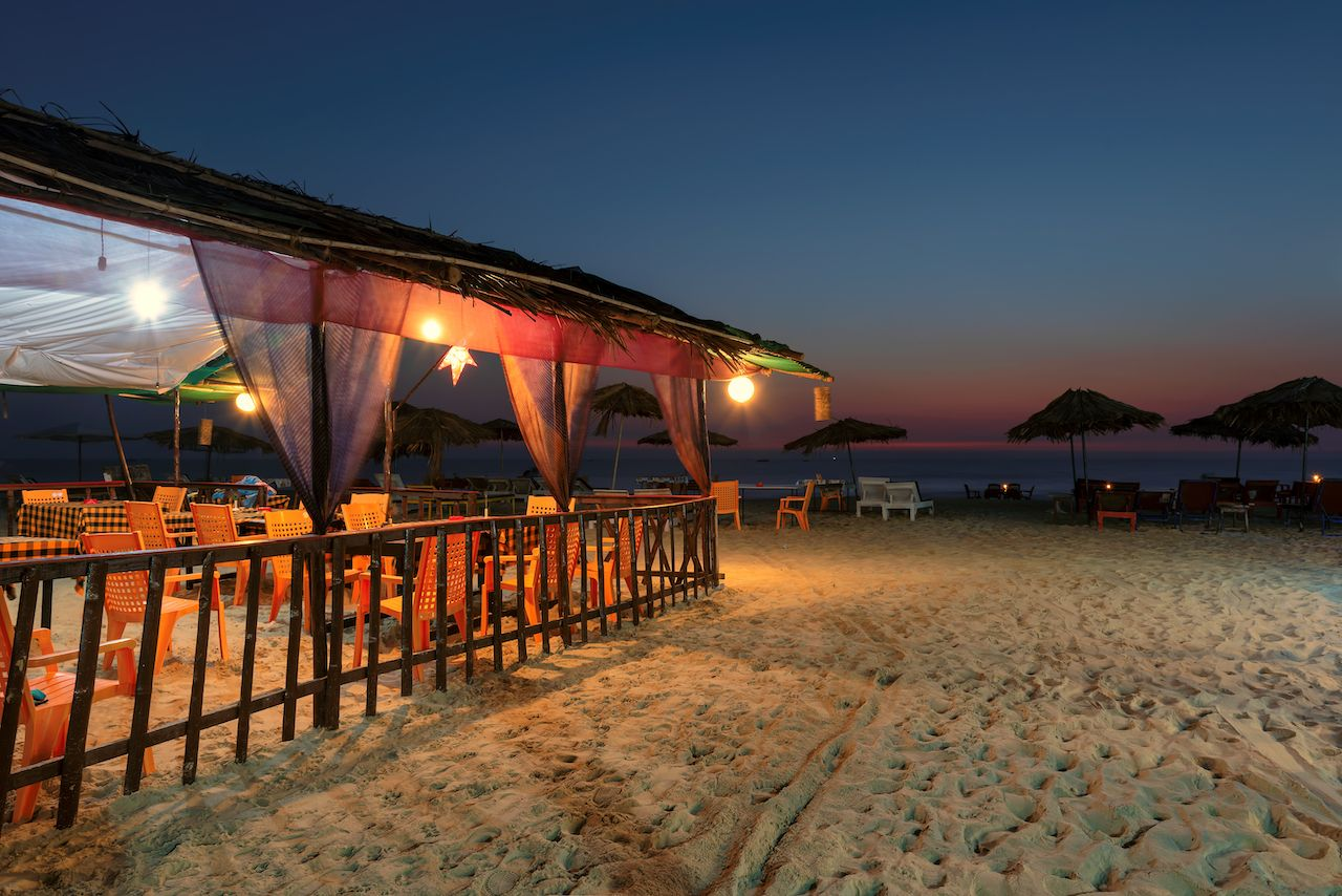 Night beach party in GOA, India