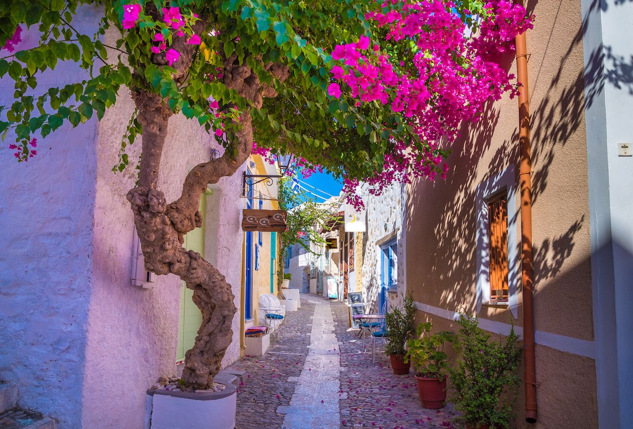 Paved narrow alley of Ano Syros in Syros island