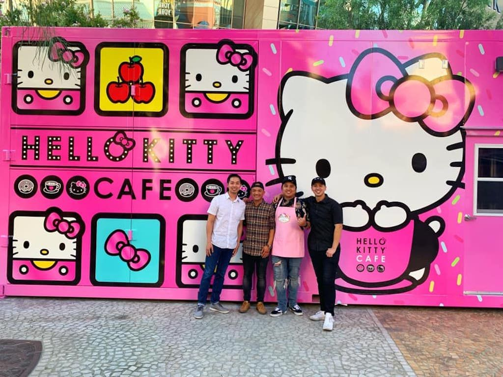 People in front of the Hello Kitty Cafe in Las Vegas