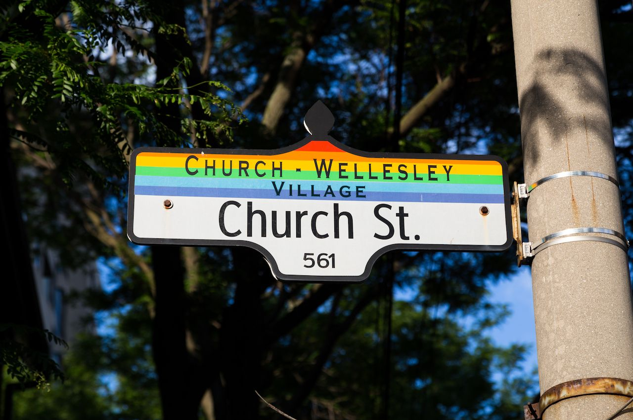 Sign for Church Wellesley Village in downtown Toronto