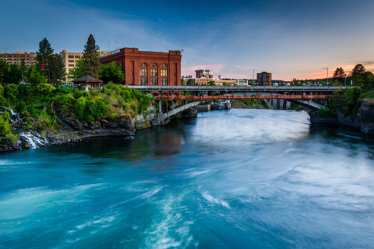 Spokane River at sunset, in Spokane, Washington