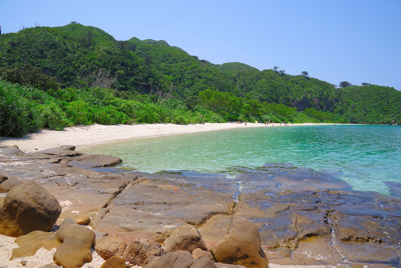 The natural beach in the west of Iriomote Island, Okinawa, Japan