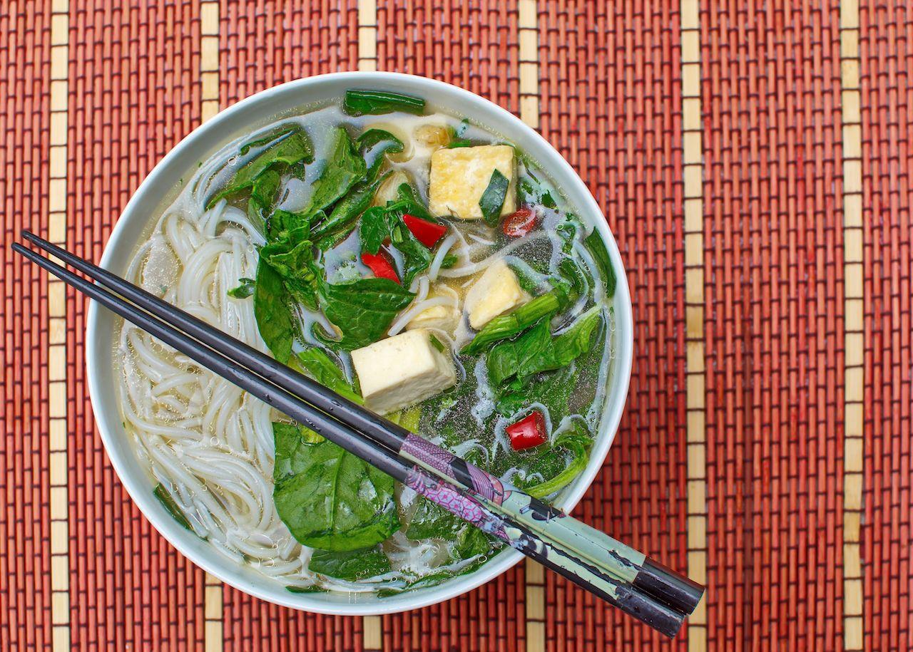 Vegan Pho Vietnamese traditional noodle soup