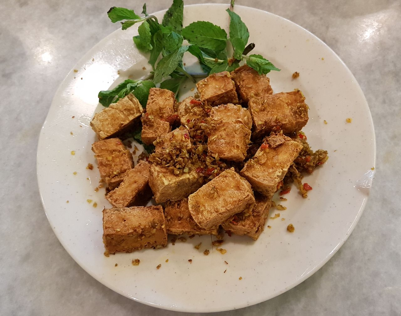 Vietnamese Fried Tofu in Lemongrass