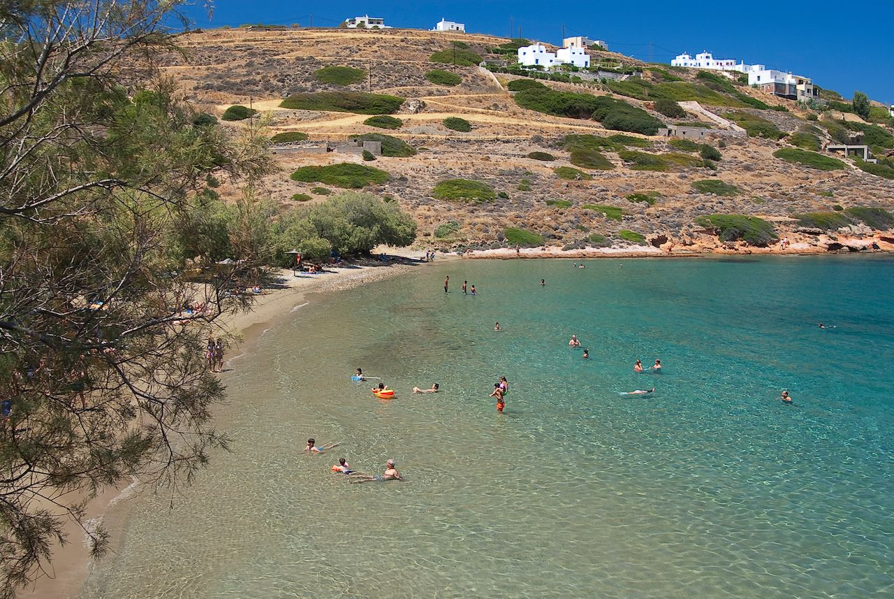 famous beach in Syros island, Cyclades, Greece