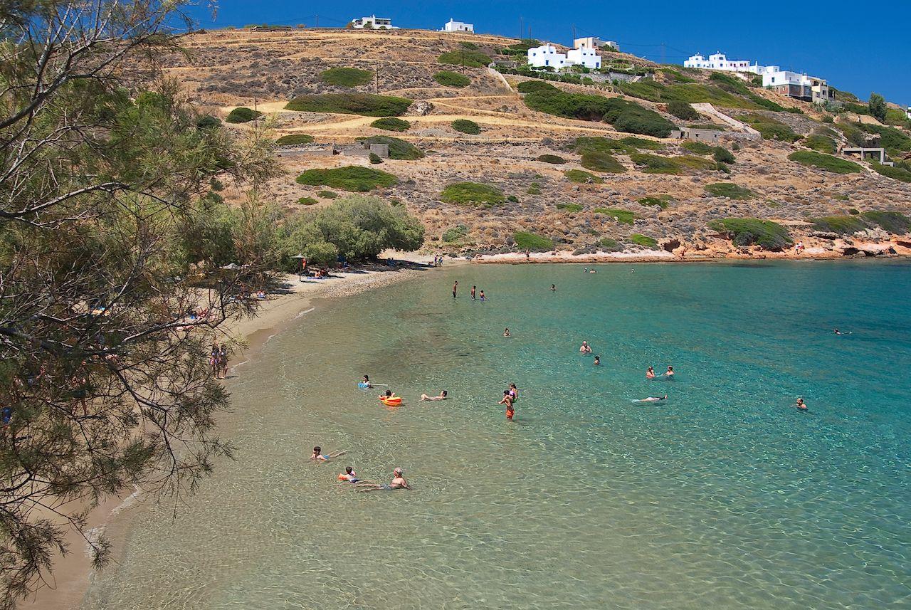 famous beach in Syros island, Cyclades, Greece