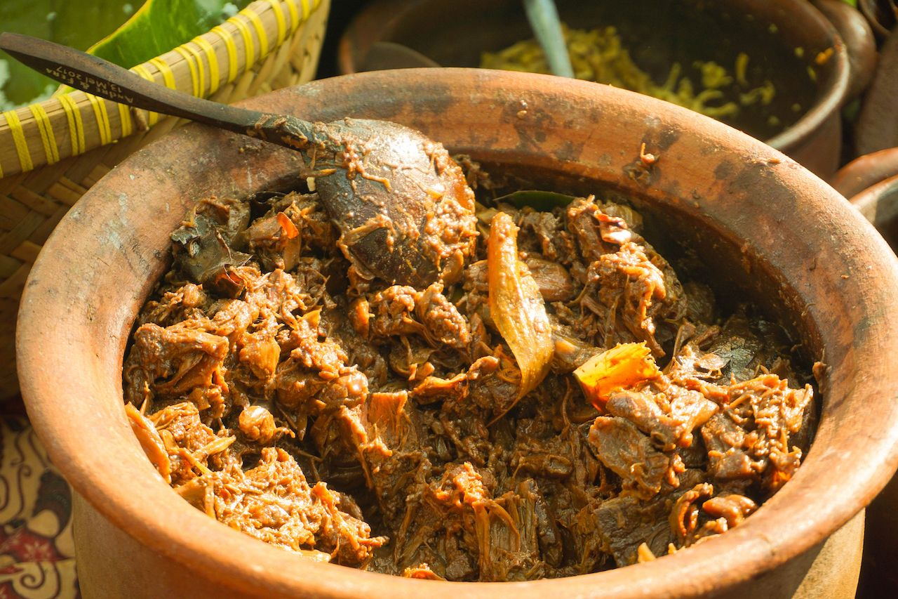 jackfruit food traditional served in clay pot from central java indonesia