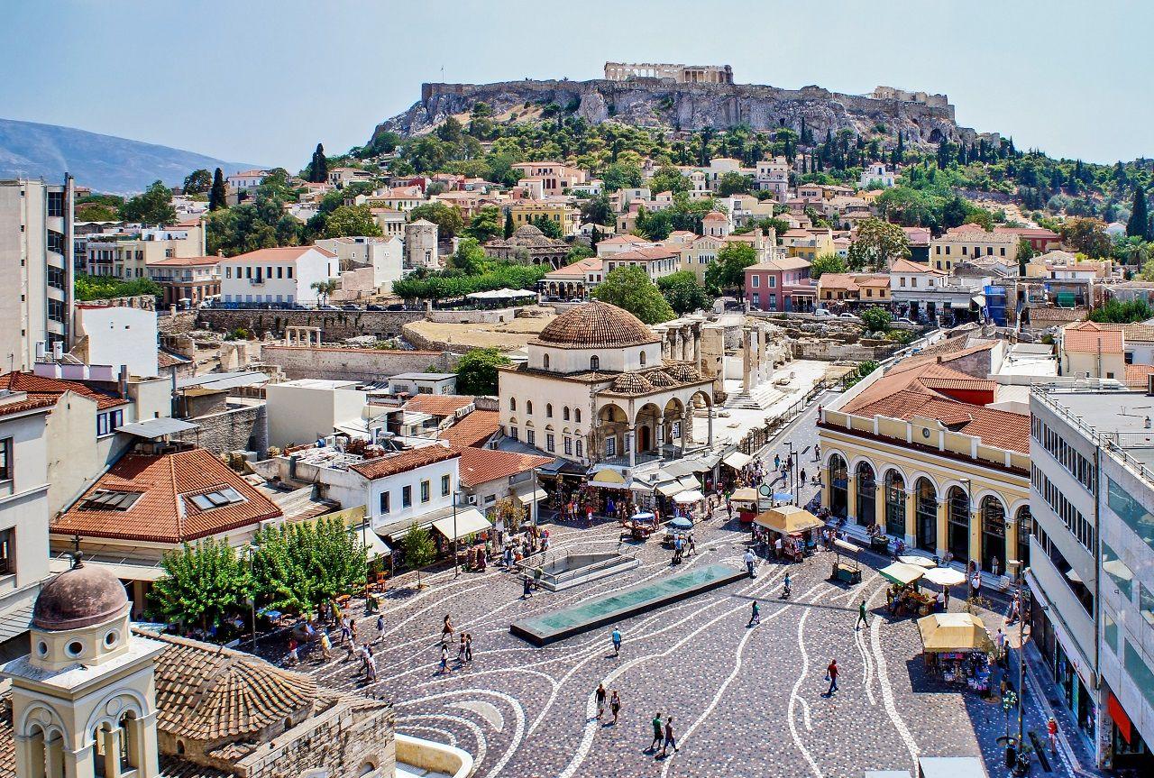 Aerial panoramic view of Monastiraki square