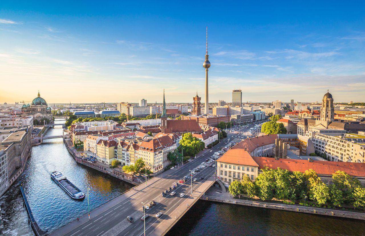 Aerial view of Berlin skyline