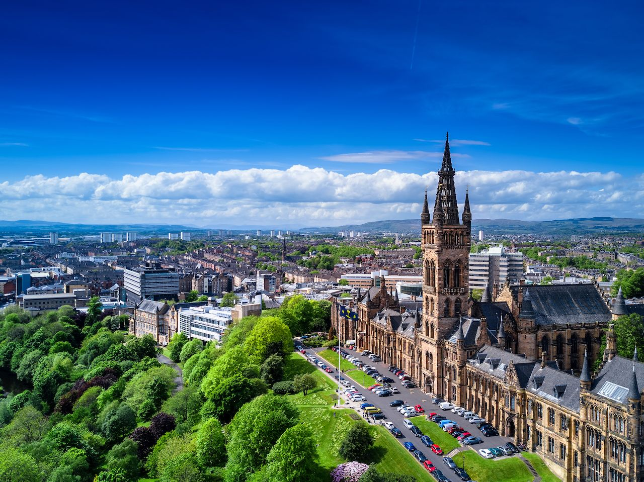 Aerial view of Glasgow, Scotland, UK