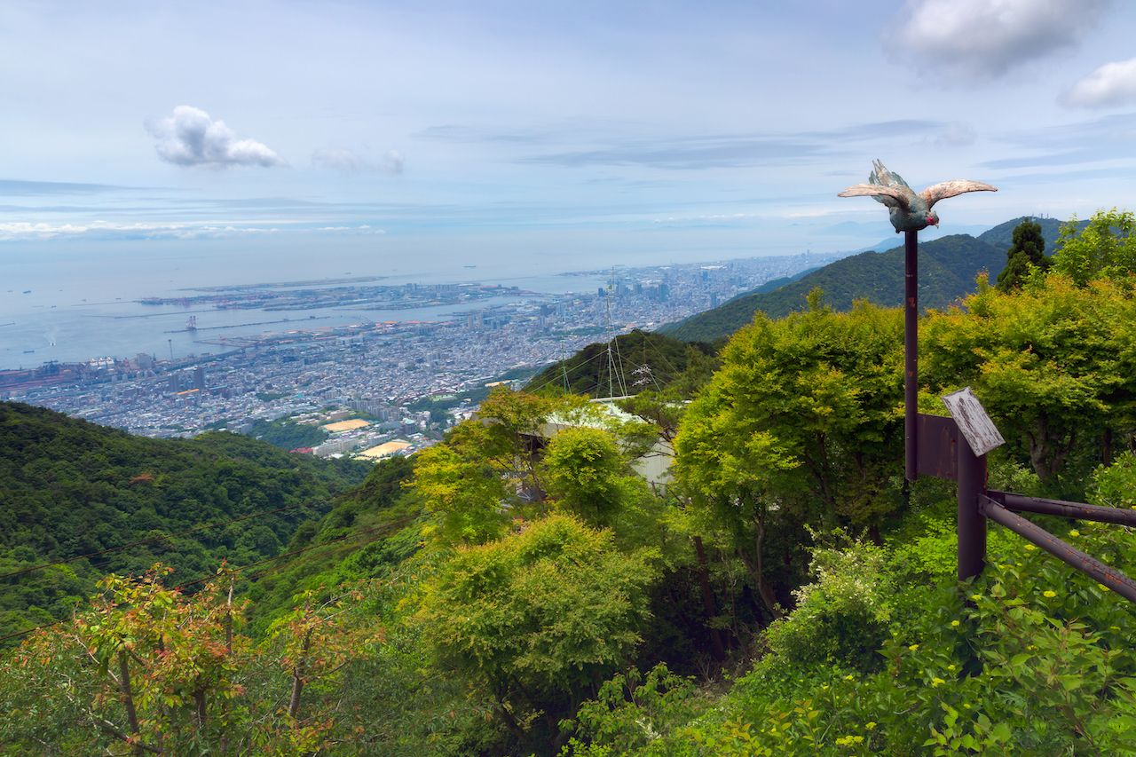 Aerial view of Kobe City in Mount Rokko, Kobe, Japan