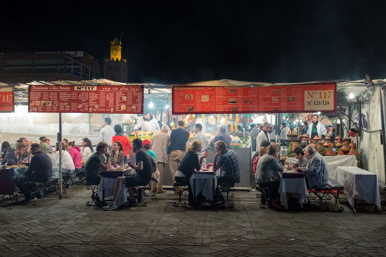 Food stalls at night in Djemaa el Fna