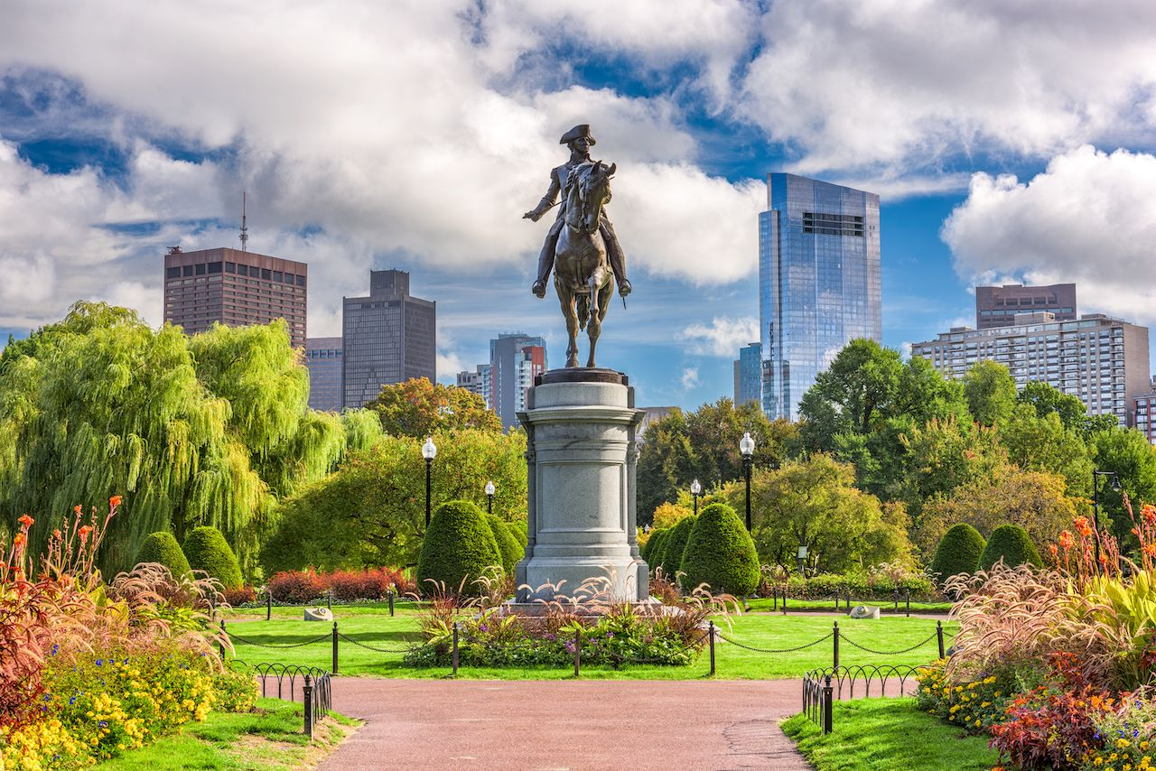George Washington Monument at Public Garden in Boston, Massachusetts