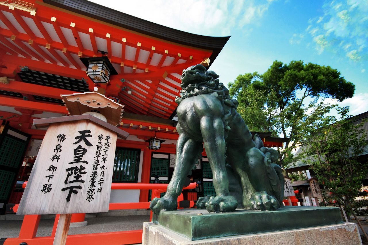Giant sculpture in front of Ikuta Shrine