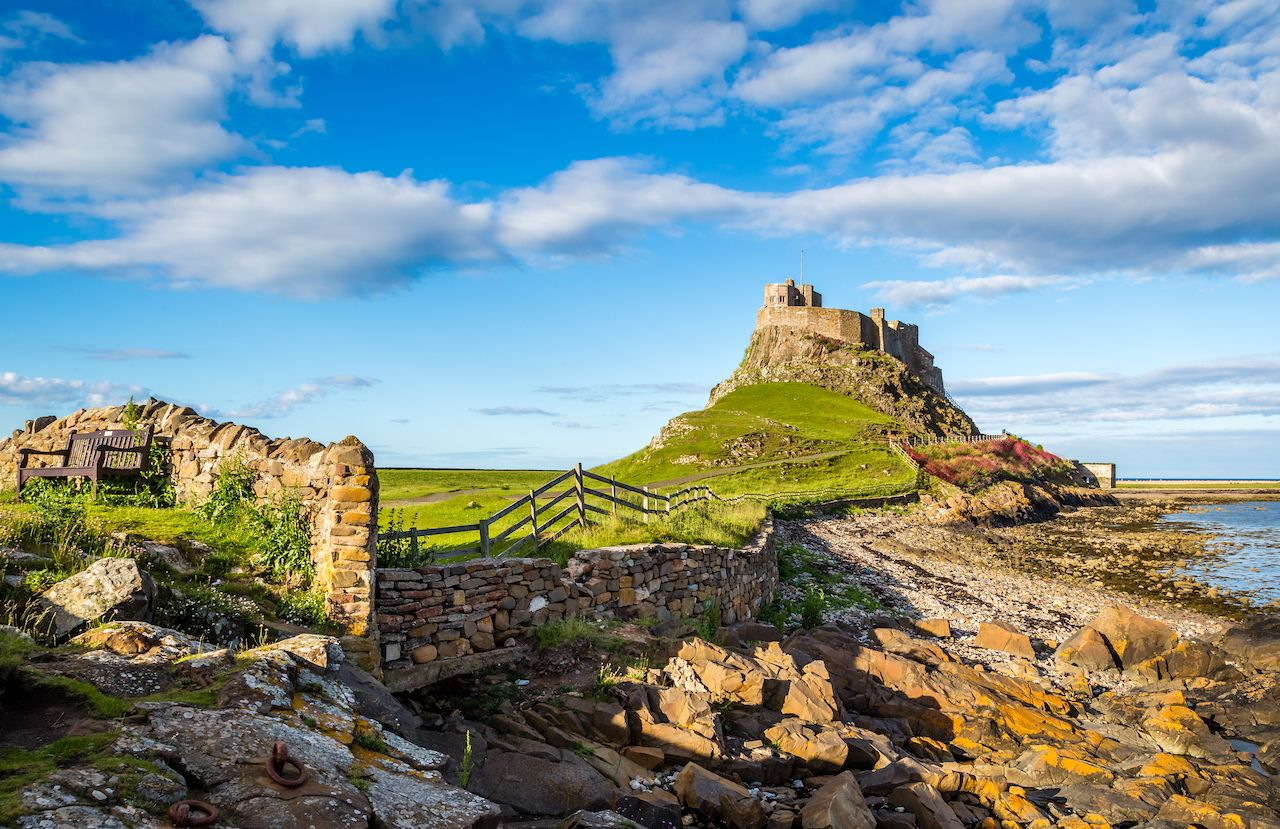 Lindisfarne Castle on the Northumberland coast, England