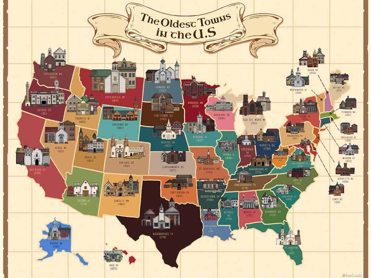 The oldest city in every state, mapped