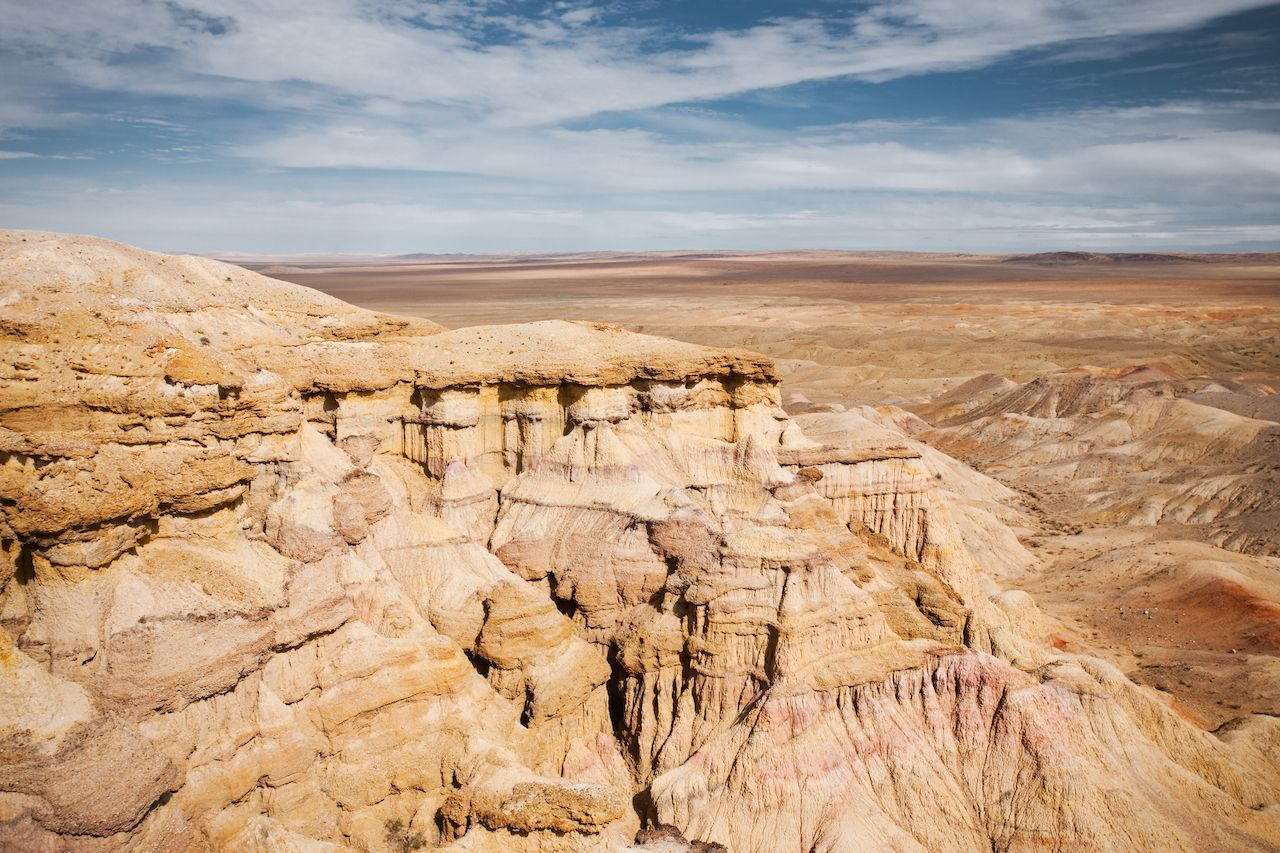 Plains of the flaming cliffs of Bayanzag, a region in the Gobi desert of Mongolia