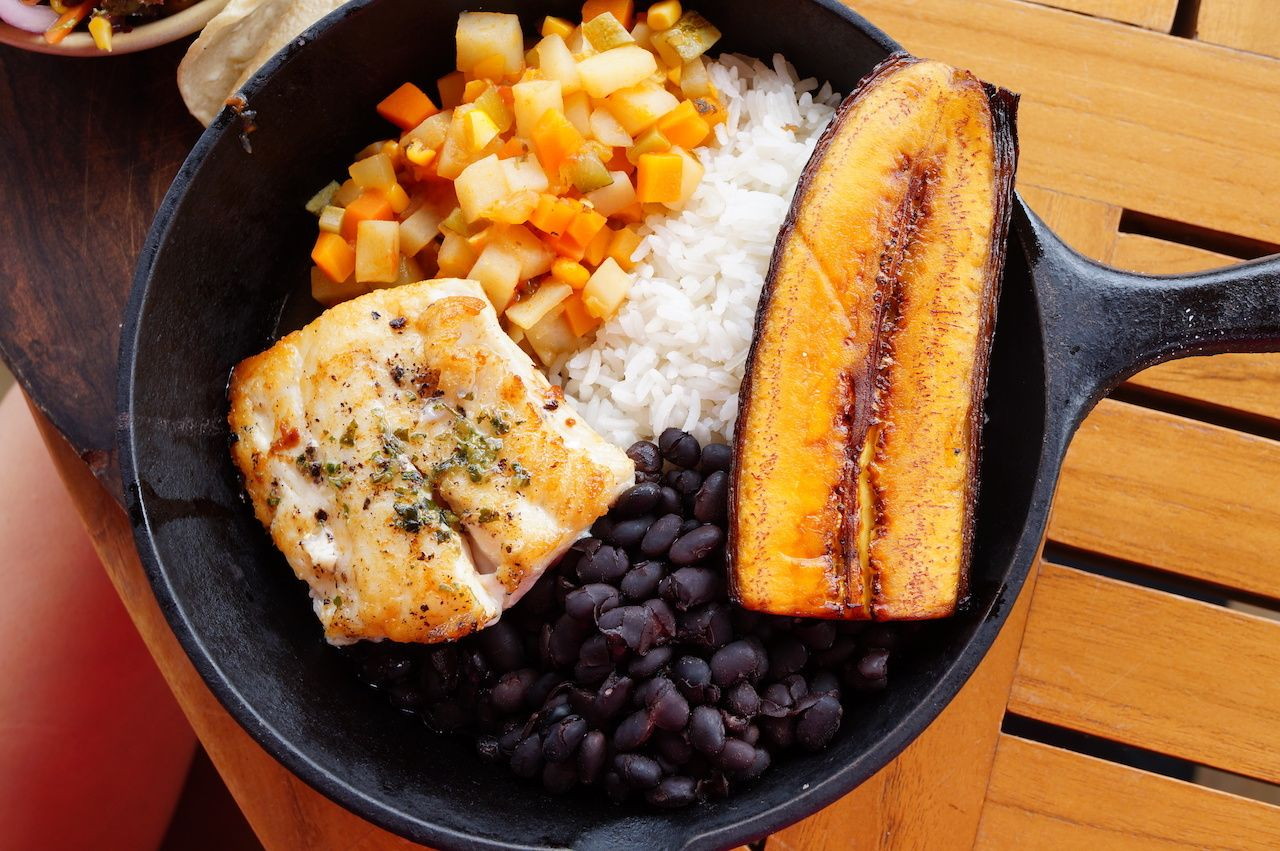 Rice, beans, and plantains