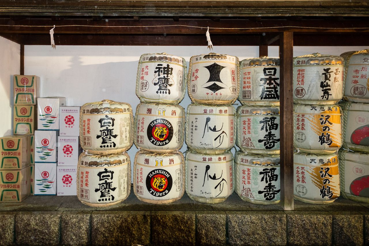 Sake barrels at Ikuta Shrine, Kobe