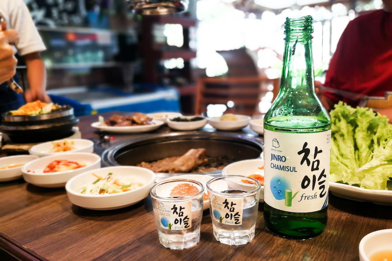 Soju at a korean barbecue