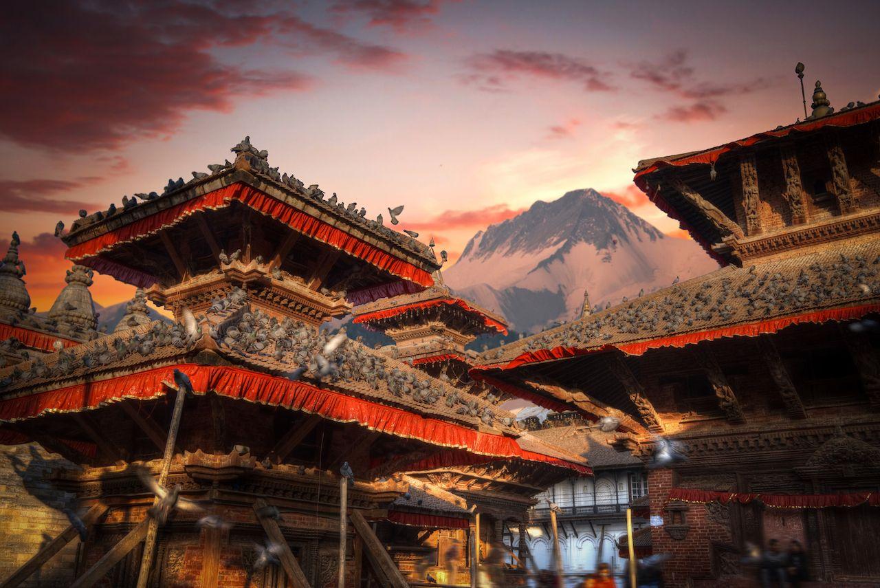 Temples of Durbar Square in Bhaktapur, Kathmandu