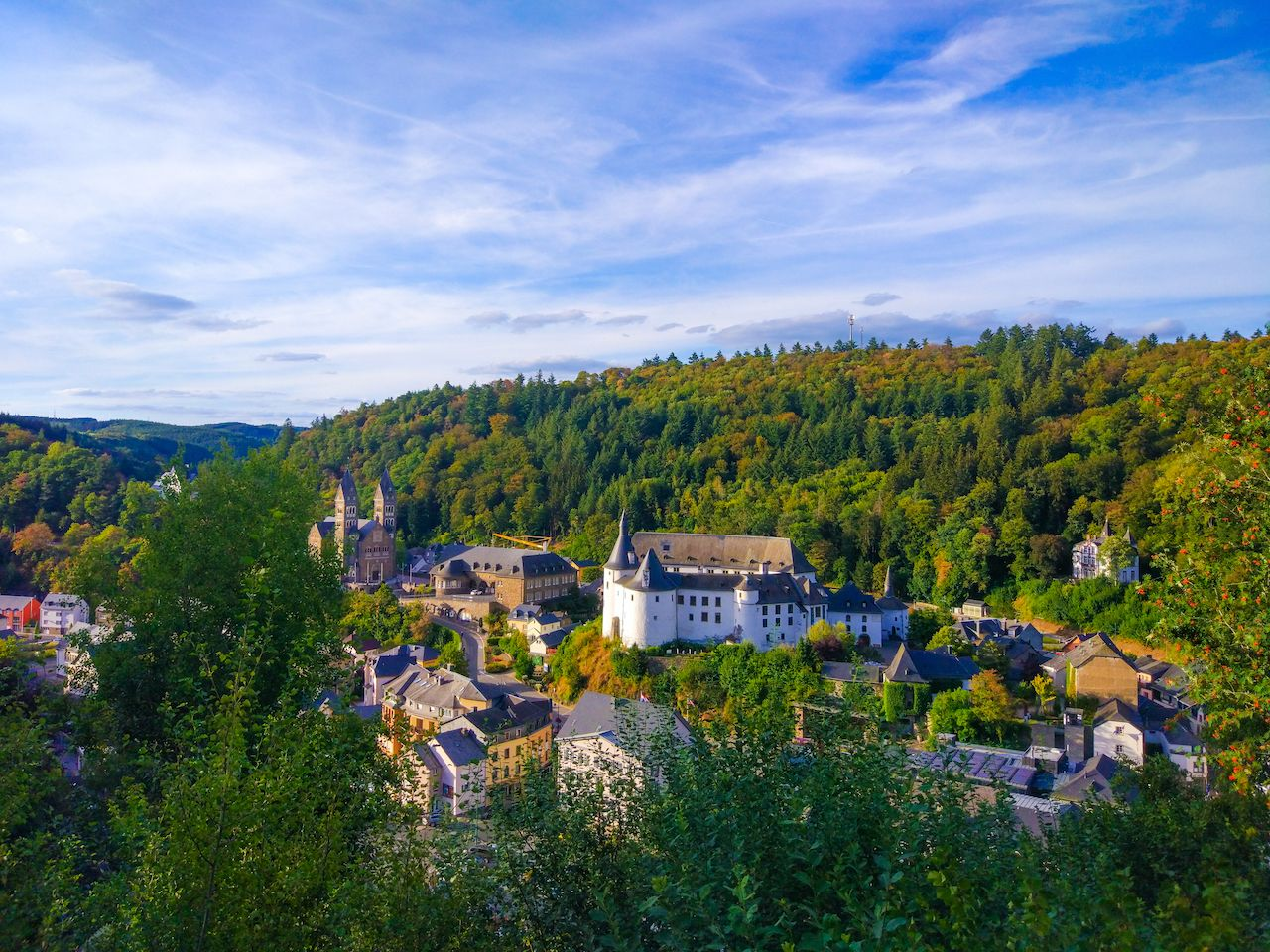 View of Clervaux and mountains with the Abbey of St. Maurice and St. Maurus of Clervaux