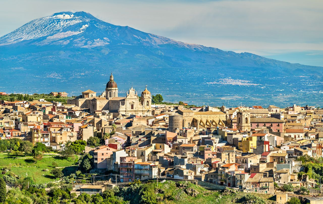View of Militello in Val di Catania with Mount Etna in the background