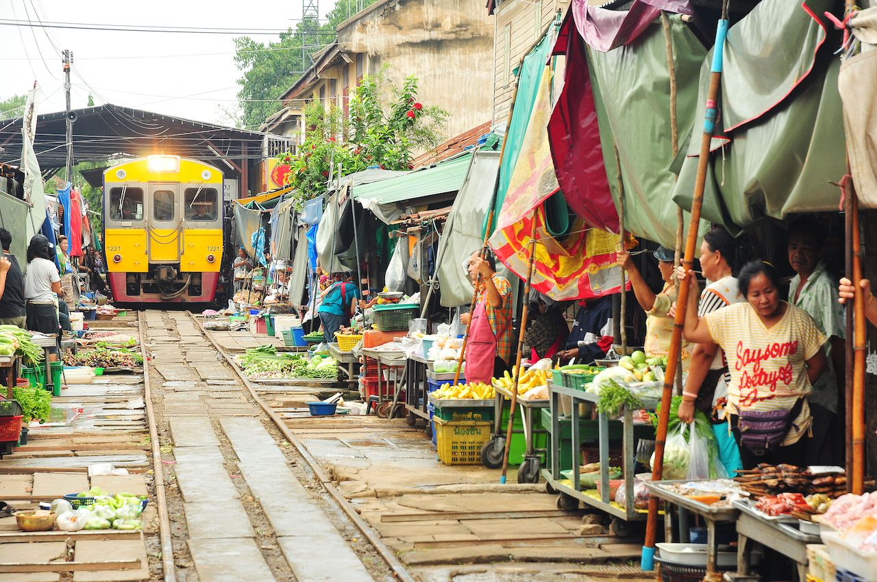 famous railway markets at Maeklong, Thailand