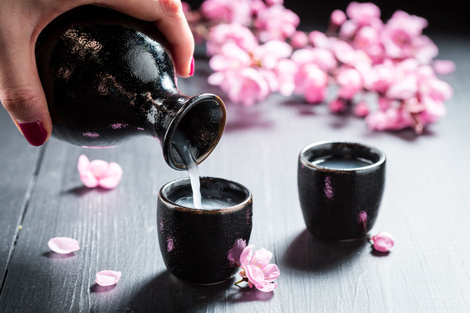 Ready to drink sake with flowers of blooming cherry; Shutterstock ID 728965828; Purchase Order: ANA 2019 SP1