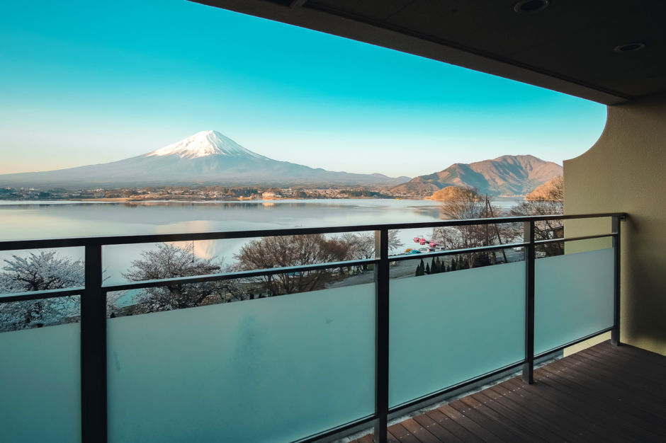 Beautiful Mt.Fuji view at balcony of Traditional ryokan resort at Kawaguchiko lake, Yamanashi, Japan; Shutterstock ID 1292384461; Purchase Order: ANA 2019 SP1