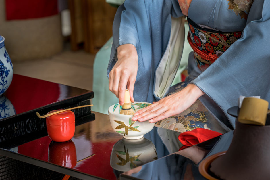 Japanese woman in kimono is preparing green tea which call the Japanese tea ceremony. ; Shutterstock ID 418222279; Purchase Order: ANA 2019 SP1