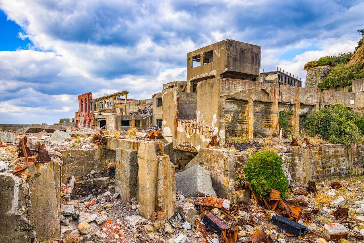 Abandoned island of Gunkanjima, Nagasaki, Japan