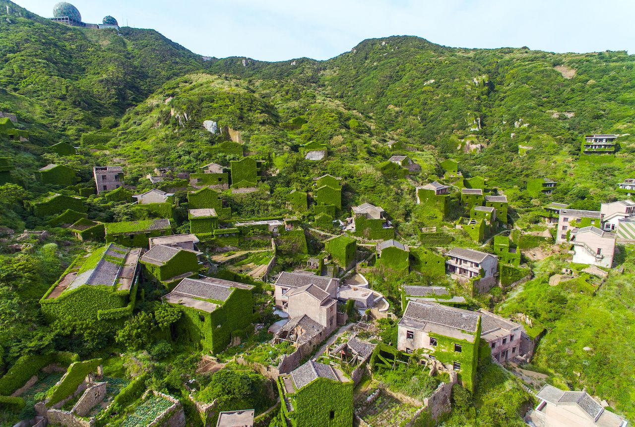 Aerial view of China's abandoned fishing village