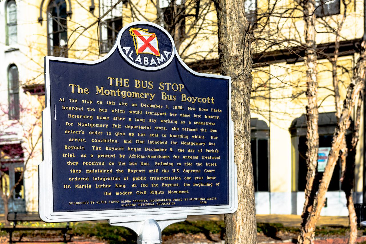 Historic marker for the Montgomery Bus Boycott in downtown Montgomery