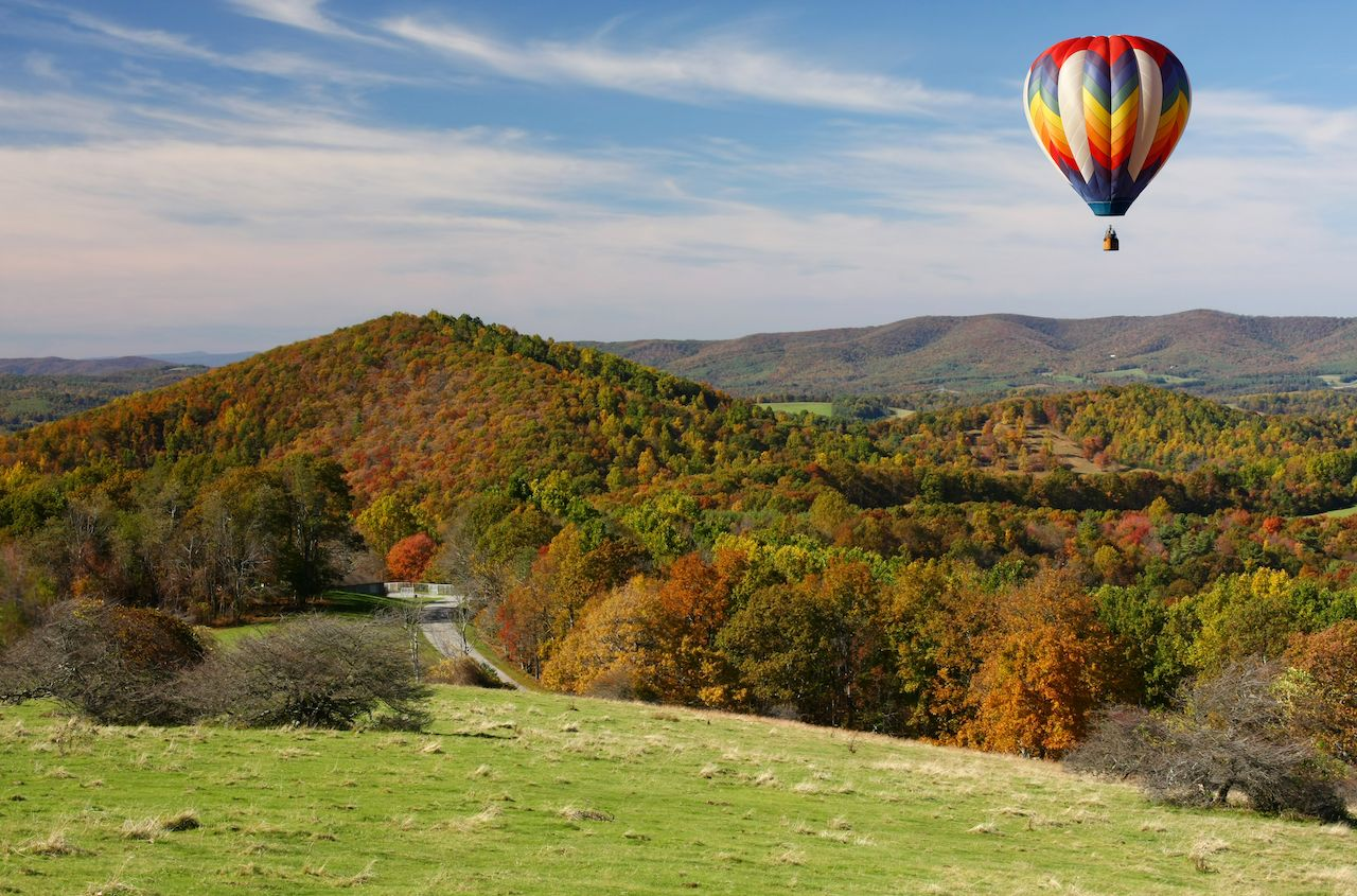 Hot air balloon over the Blue Ridge Parkway