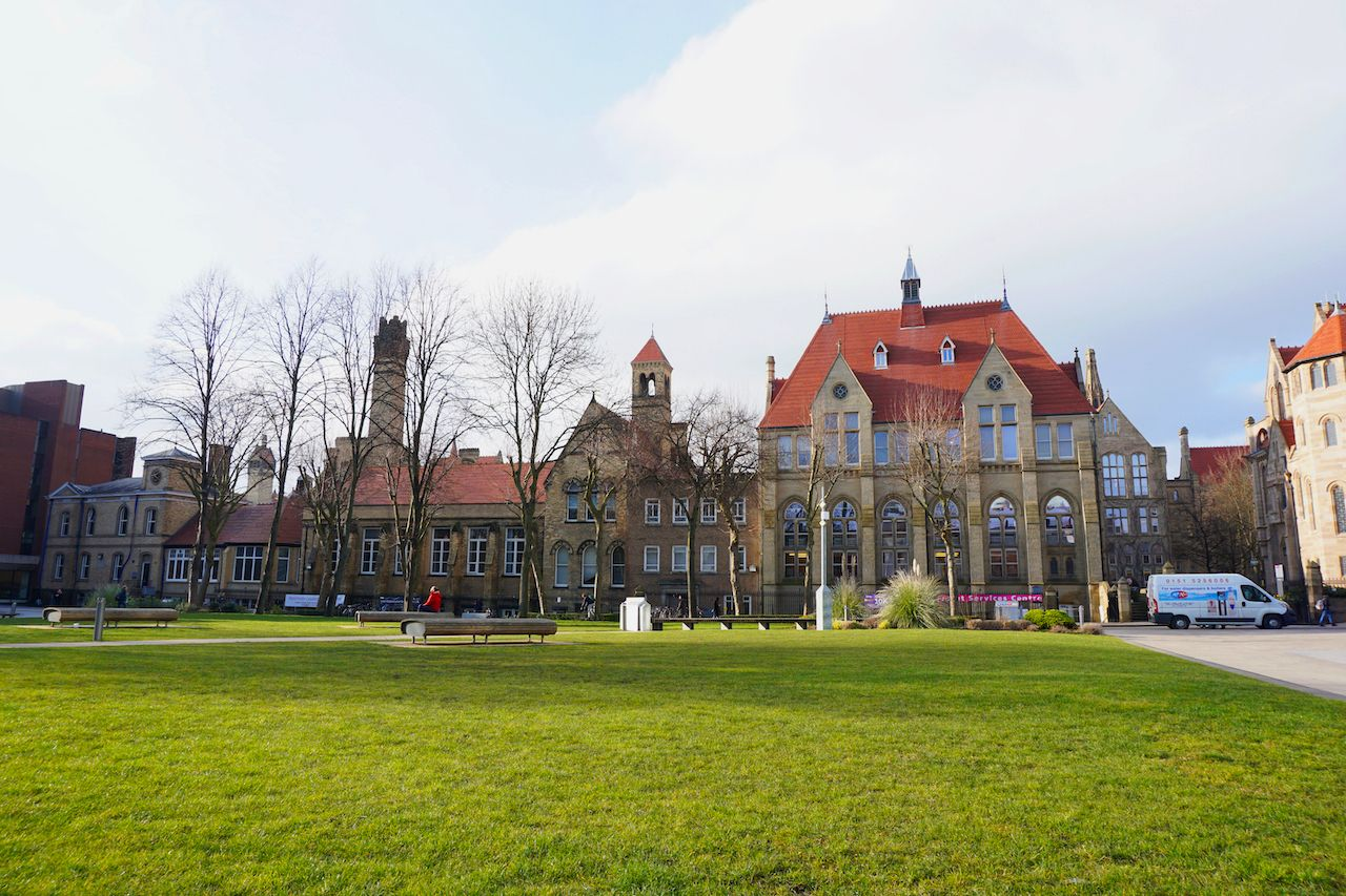 Whitworth Hall on Oxford Road and Burlington Street in Chorlton-on-Medlock, Manchester, England