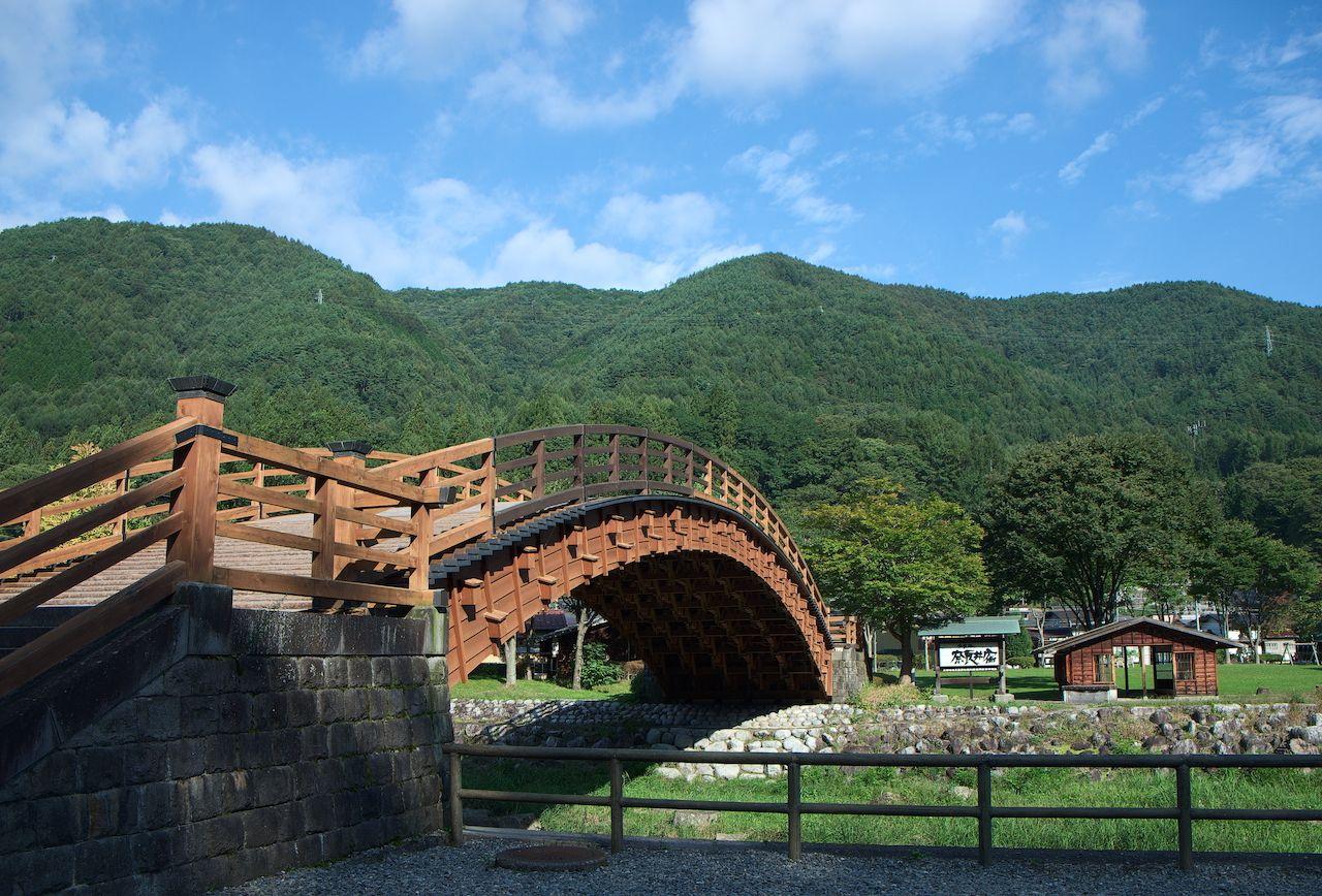 Wooden bridge in Nagano Prefecture, Japan