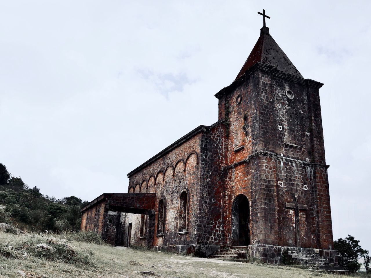 abandoned church near Kompot in Cambodia at Bogor Hill Station